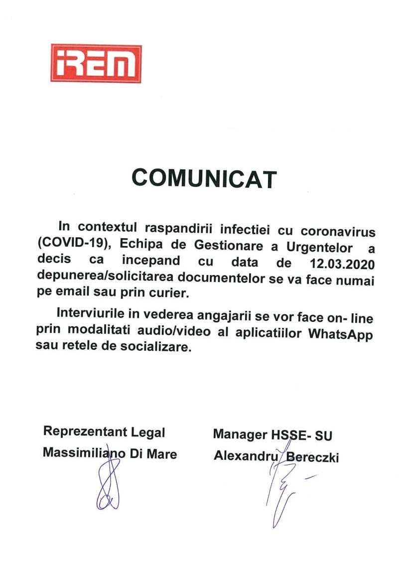 Comunicat IREM - Coronavirus 12.03.2020